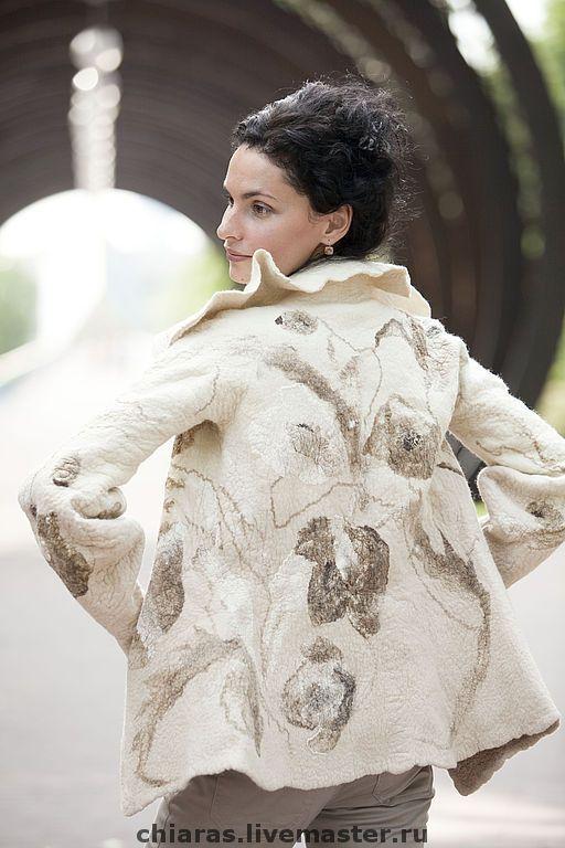 """Купить жакет ручной работы """"Берег Слоновой кости"""" - кремовый, светлое полупальто, пальто на праздник"""