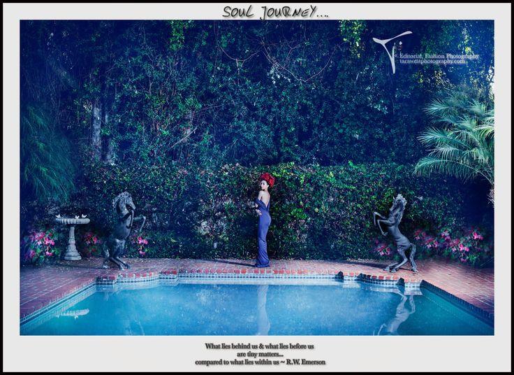 Image title: Soul Journey Photographer: Tara West Designer: Kevan Hall Location: Chateau Del Mar, Palos Verdes Estates, Los Angeles, California 2012 Model: Dulce Ruby