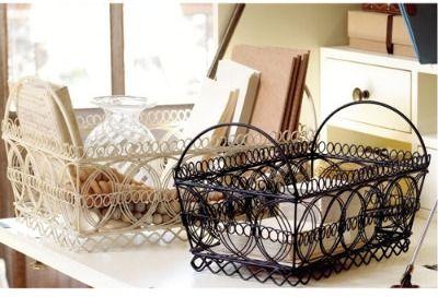Pretty wire baskets from Ballard Designs.Saturday Morning