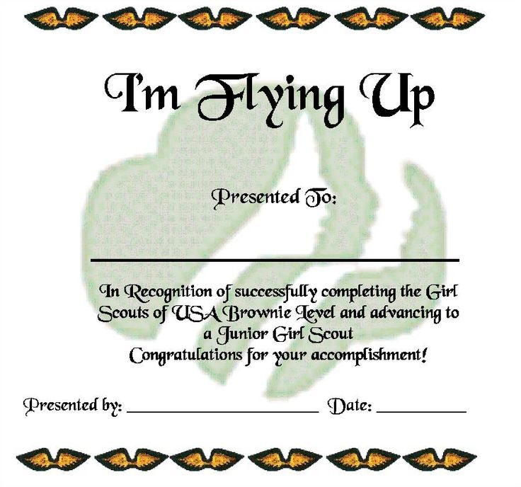 Brownie Fly Up Certificate - Bridging Ceremony