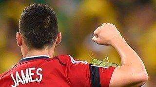 Colombia's midfielder James Rodriguez celebrates