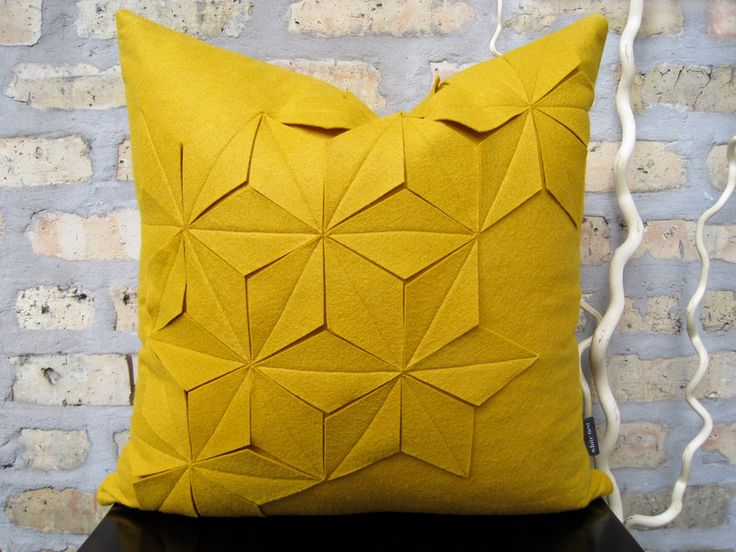 "Geometric Golden Yellow Wool Felt 18""x18"" Pillow Cover. $75,00, via Etsy."
