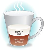 Cuppuccino is a shot of espresso with steamed, wet milk.