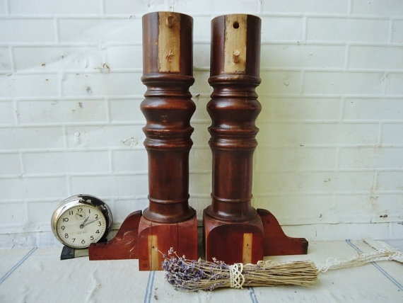 Antique Wooden Spindle Table Leg Posts   Set Of 2