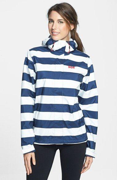 Navy and White Stripe Rain Jacket
