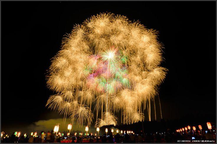 Katakai Fireworks Festival in Ojiya city on Sep-10, 2013. The fireworks using 120cm(48in) shell. Photo by Shinya Inoue.