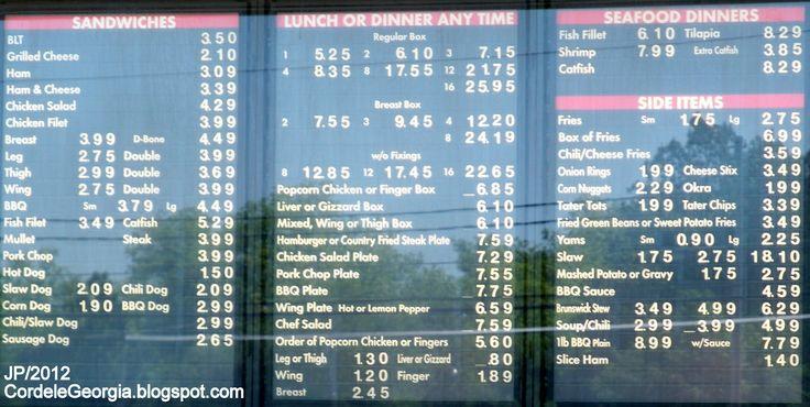 Fast Food Restaurant Menu | CARTER'S CHICKEN CORDELE GEORGIA Menu Fast Food Restaurant Carter's ...