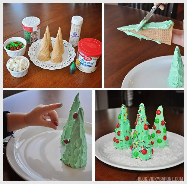 Ice cream cone christmas trees christmas crafts for kids sugar