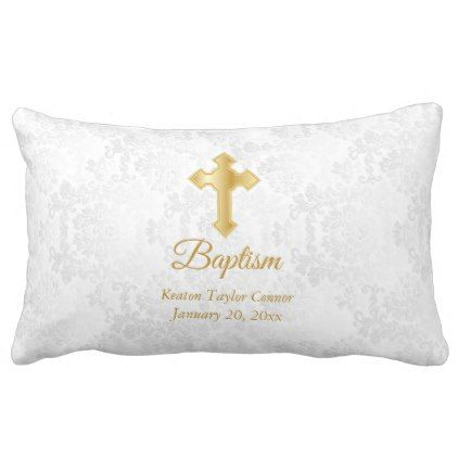 White Damask and Gold Baptism Lumbar Pillow - patterns pattern special unique design gift idea diy