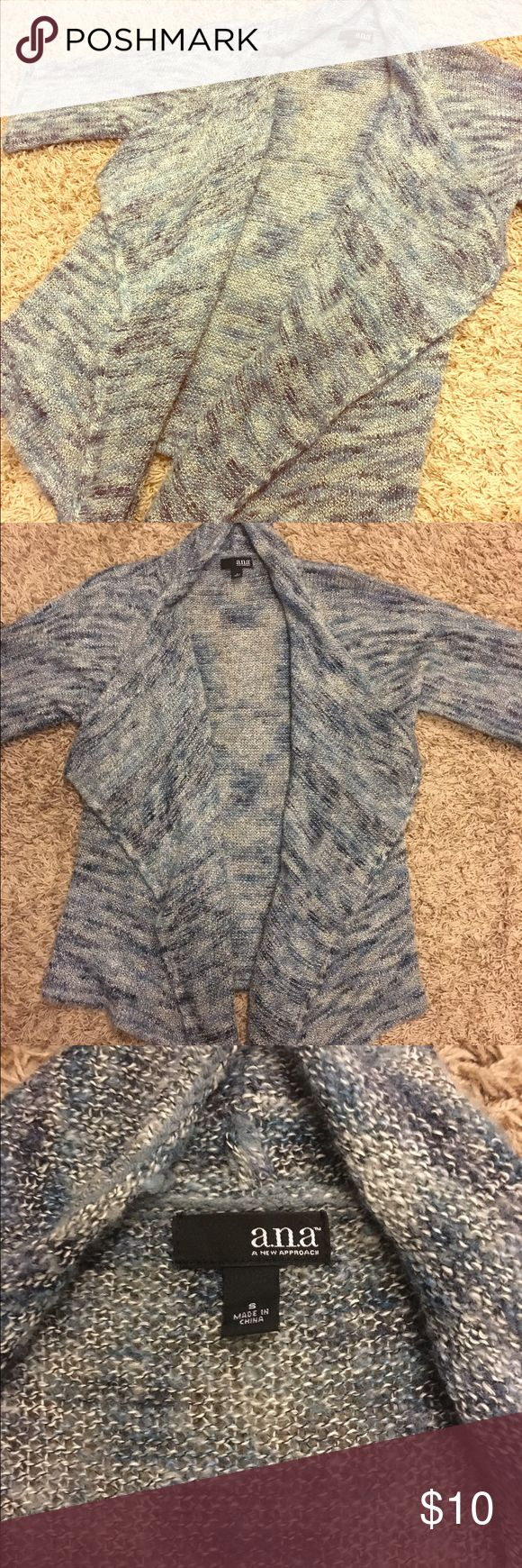 a. n. a. Blue Cardigan Really soft short sleeve cardigan! The front has extra material making it easy to wrap around like a blanket. It's a light blue mesh color with some white and grey. a.n.a Sweaters Cardigans