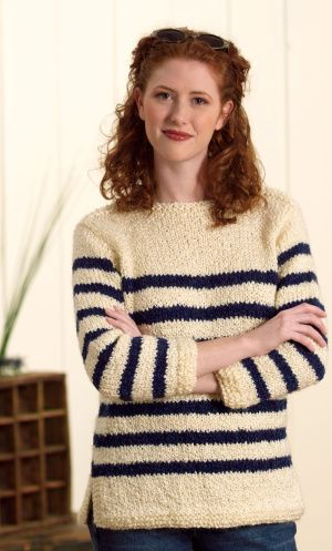 Free Knitting Pattern 20062 Nautical Pullover : Lion Brand Yarn Company