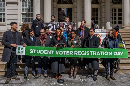 With a Press Conference at the steps of City Hall; the New York Immigration Coalition, in partnership with the New York City Council, NYC Votes, the Board of Elections, and the New York City Department of Education, announced Student Voter Registration Day (SVRD) to be held in 60 high schools across New York City's five boroughs.