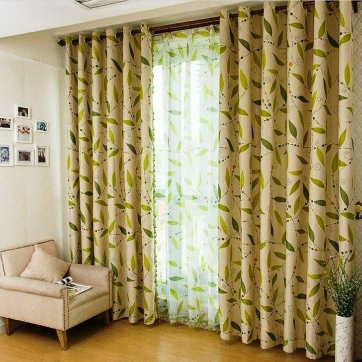 Living Room:Modern Curtain Beautifies Your Window On Living Room Cozy Cream Sofa Near Modern Floral Curtain Mixed With Laminate Floor Also W...