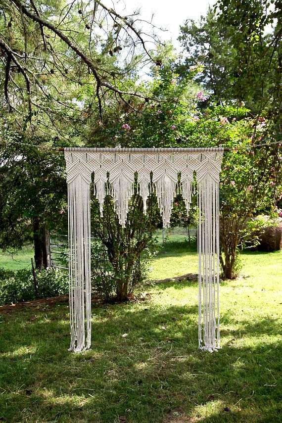 Macrame Arch 6' x 8' Natural White Cotton Rope on
