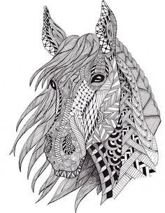 Free Coloring Pages: Horses                              …  Davlin Publishing #adultcoloring