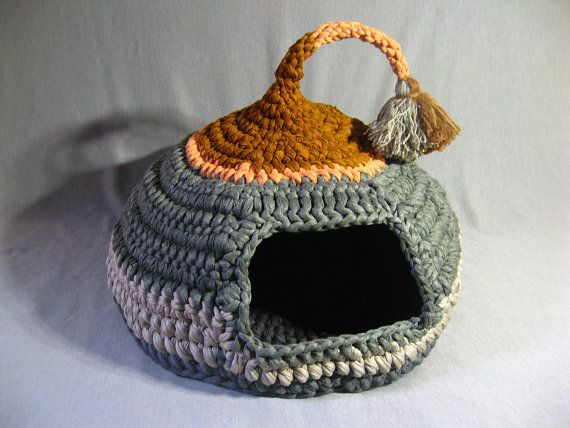 Crocheted Cat Cave Pet house Pet Bed Gray and Brown with tassel for playing
