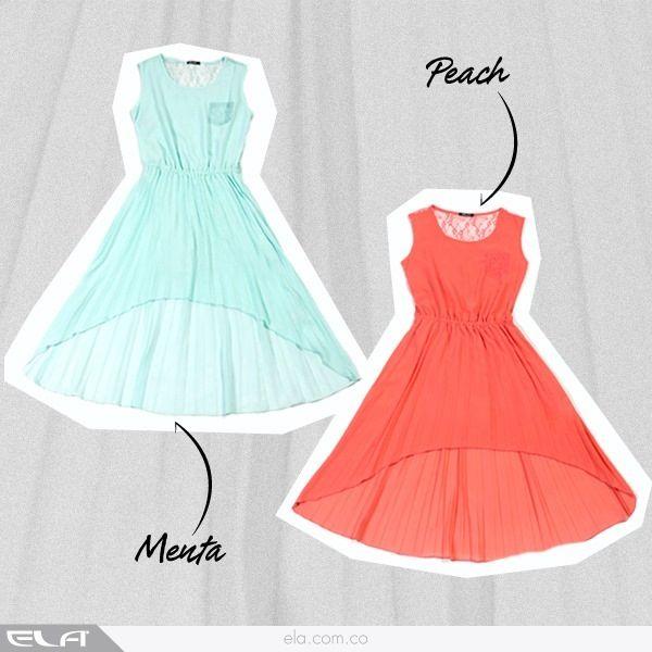 Peach / menta vestido