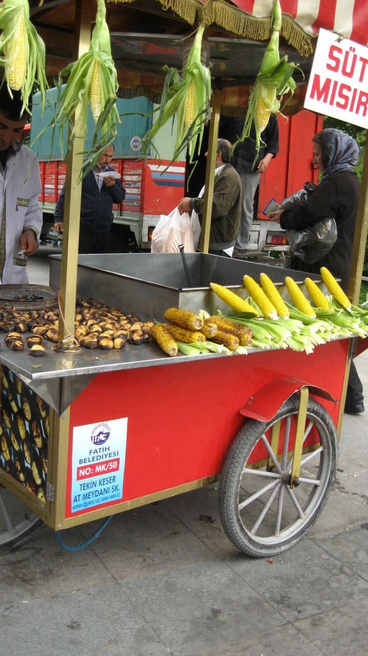 Roasted chestnut and corn stand yes please