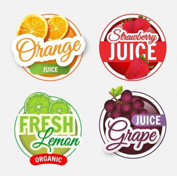 Sticker Printing Fruit Shop Juice Logo Fruit Logo