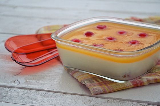 Greek yogurt mousse, orange jelly dessert