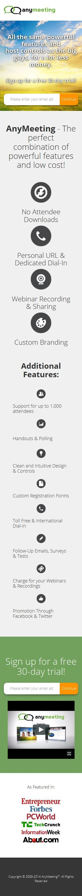 AnyMeeting Mobile Landing Page (Click through for Casey Ark's critique on Unbounce)