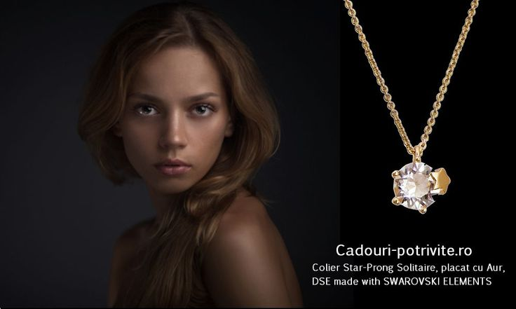 PROMOTIE! Colier Star-Prong Solitaire, placat cu Aur, DSE made with SWAROVSKI ELEMENTS Face parte din linia de bijuterii Classic a Colectiei Daniel Swarovski Edition 2014. Colierul este placat cu Aur si este decorat cu cristale SWAROVSKI Crystal. http://bit.ly/1ndT7dh