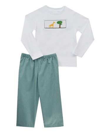 Turquoise Safari Smocked Tee & Pants - Infant & Toddler #zulily #zulilyfinds
