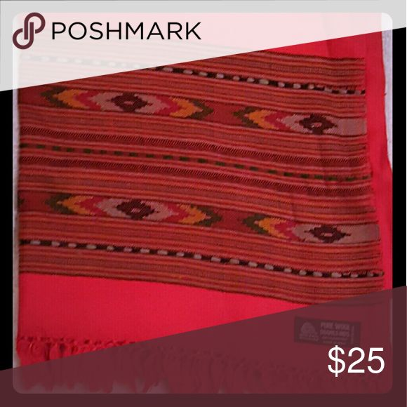 WOOL Wrap Beautiful 100% soft wool, large red wrap with a patterned mid section and red border fringe. Purchased from Smithsonian catalog @ $80.  Taken out of package only for the picture. Accessories Scarves & Wraps