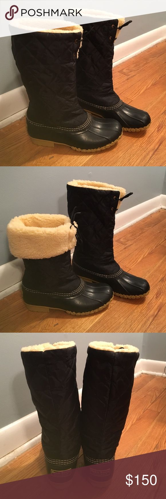 Women's Black Quilted L.L. Bean Boots Women's Black Quilted L.L. Bean Boots. Size 8M. Feels true to size. Can be worn 2 ways shown in pictures. Have never been worn. Like new condition. NO TRADES! L.L. Bean Shoes Winter & Rain Boots