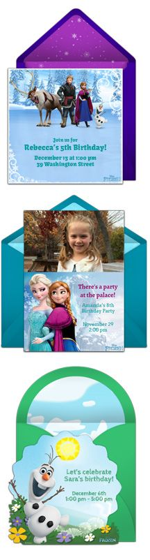 Send free Frozen invitations! Beautiful, digital Frozen birthday invitations starring Elsa, Anna, and Olaf. #frozen #disney #party #frozeninvitation