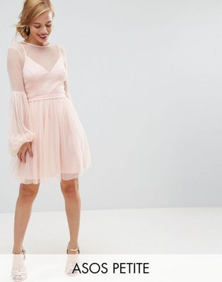 asos petite dobby mesh balloon sleeve mini dress with trim