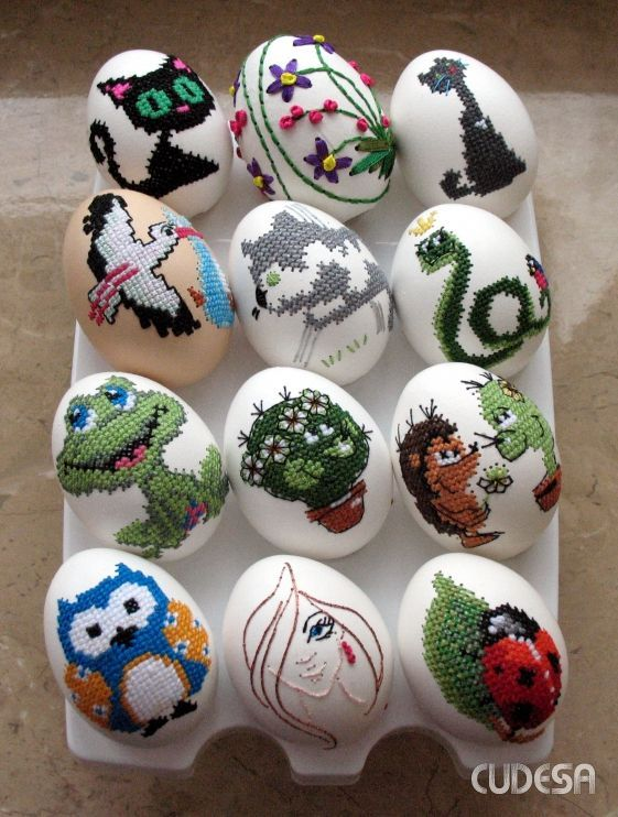 Схемы вышивки для пасхальных яиц. Вышивка крестом веселой детской тематики для создания пасхальных яиц из пенопласта в технике кинусайга, пэчворк без иголки