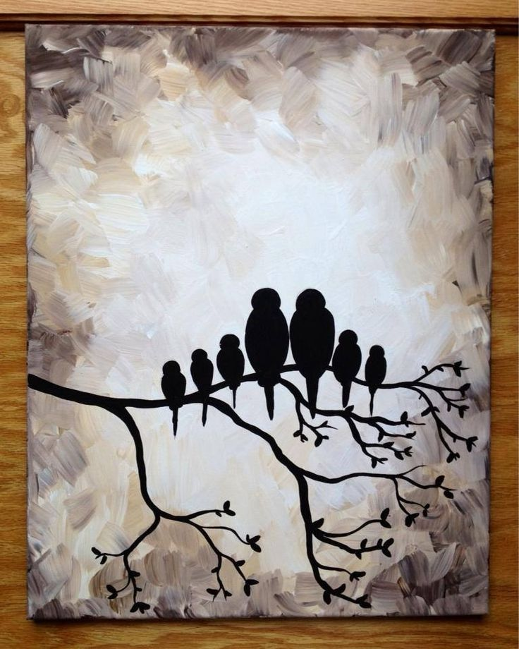 Bird Family Silhouette Black And White 16x20 Painting
