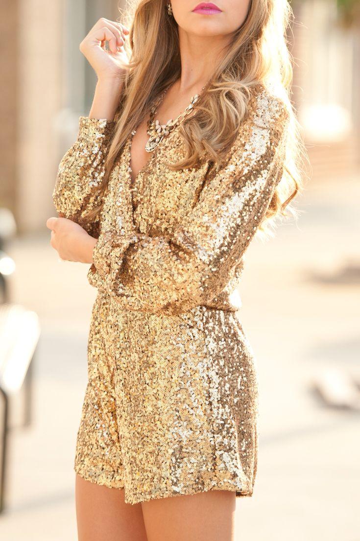 Gold sequin romper.