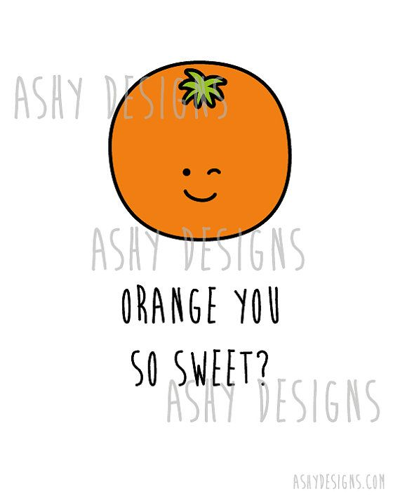 Orange Wall Art Print Instant Download ORANGE You by AshyDesigns