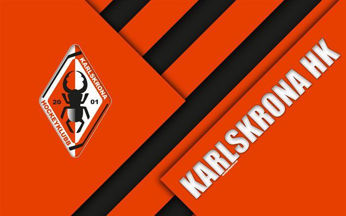 Download wallpapers Karlskrona HK, orange-black abstraction, 4k, Sweden, SHL, logo, material design, Swedish hockey club, Karlskrona, Swedish hockey league