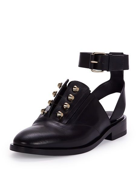 Balenciaga takes the piercing trend to a cool, wear-everyday derby shoe.Balenciaga Studded Leather Derby Flat, $795, available at Bergdorf Goodman. #refinery29 http://www.refinery29.com/pierced-clothing-accessories-trend#slide-7