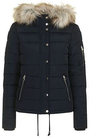 Womens navy quilted puffer jacket blue blue from Topshop - £70 at…
