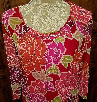 Croft and Barrow Ladies Large Blouse Floral Tunic Pink Red Purple Career Wear