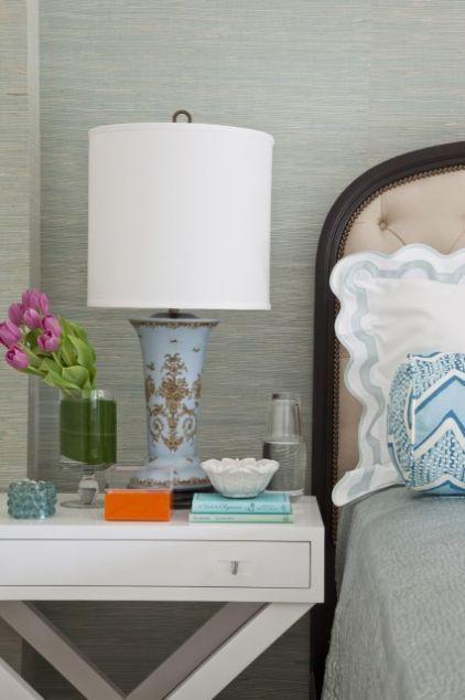 bedside table, beautiful lamp