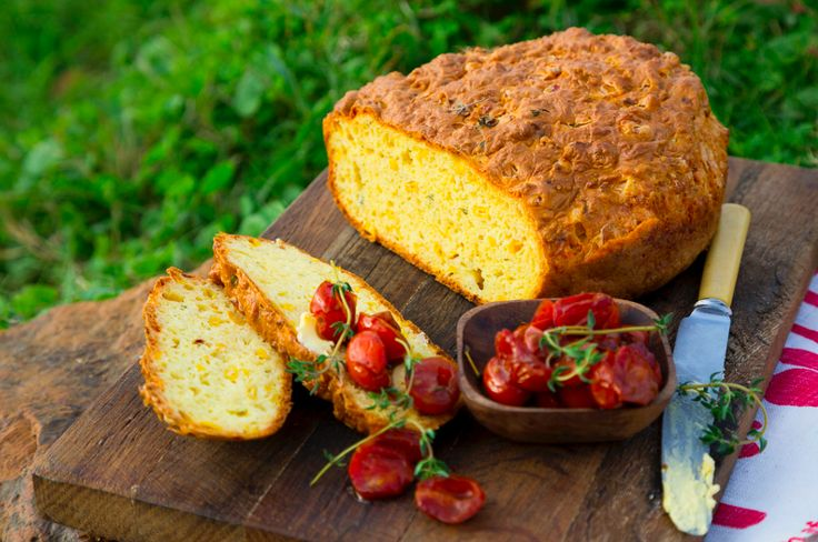 Sweetcorn Pot Bread with Blistered Tomatoes