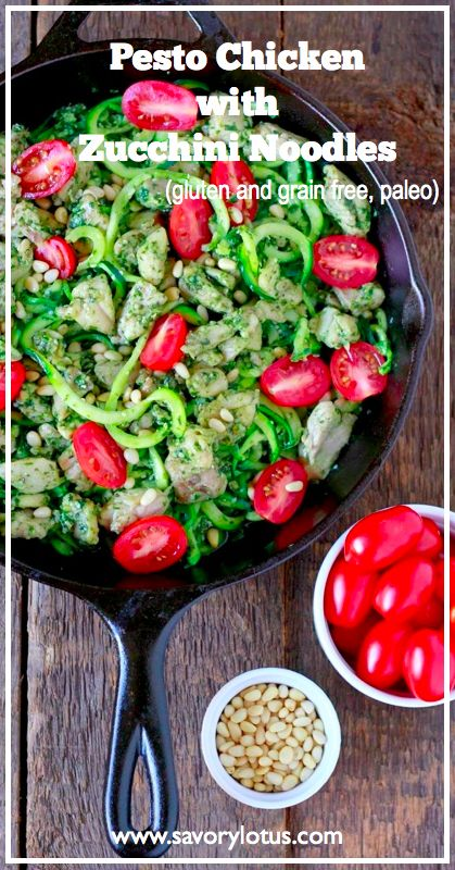 Pesto Chicken with Zucchini Noodles (gluten and grain free, paleo) - savorylotus.com