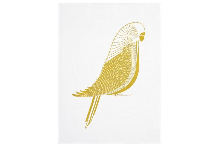 Linen tea towel - Budgie by I Ended Up Here via The Third Row
