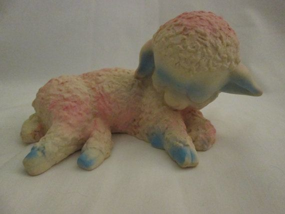 Vintage 1965 Holland Hall Products Sleeping Lamb Rubber or Vinyl Squeak Toy 6 inch Long, 3 inch tall, Squeak Not Working