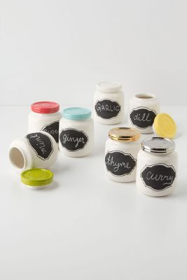 chalkboard tiny mason jars. could be used in the kitchen or bathroom for a cute way to store non cute stuff like cotton balls