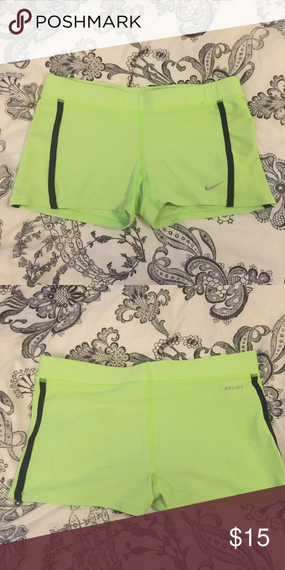 Nike neon green shorts Nike, bright green with stripe, shorts, barely worn, almost new Nike Shorts