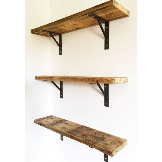 Reclaimed Pallet Wood Shelf with Welded Steel Brackets.  Price for 1 shelf with 2 brackets.  Approximate dimensions; Length 50cm Width 14cm Height 14cm