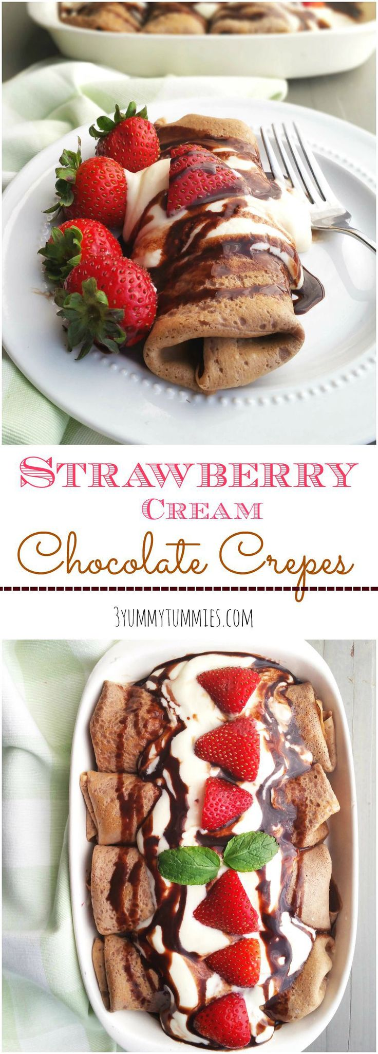 Strawberry Cream Chocolate Crepes