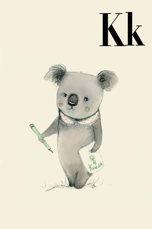 K for Koala Alphabet animal  Print 4x6 inches by holli on Etsy, $5.50