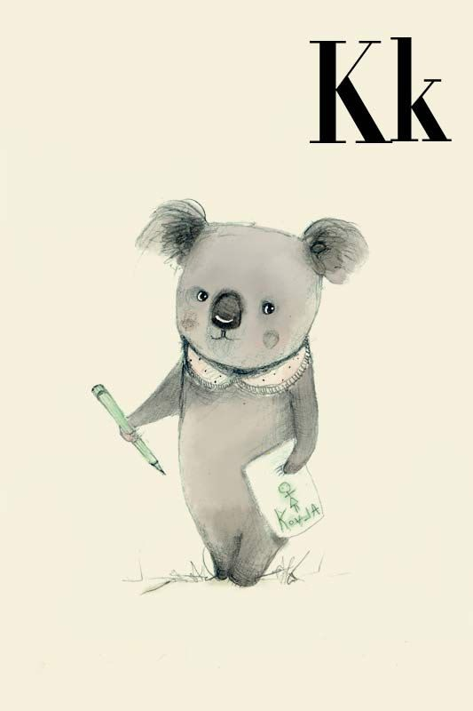 K for Koala Alphabet animal  Print 4x6 inches by holli on Etsy, $5.50